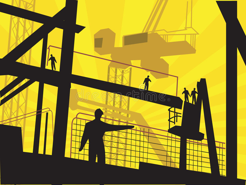workers standing in a factory. vector illustration