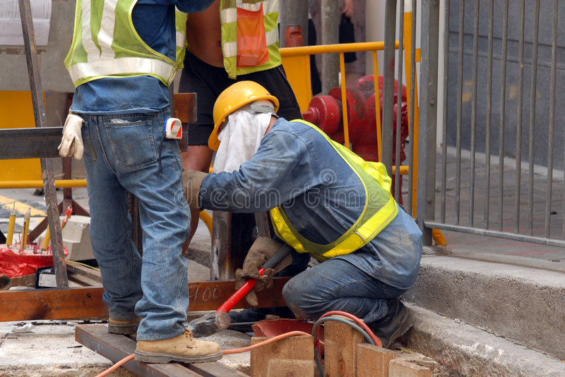 Workers at Street Level stock image