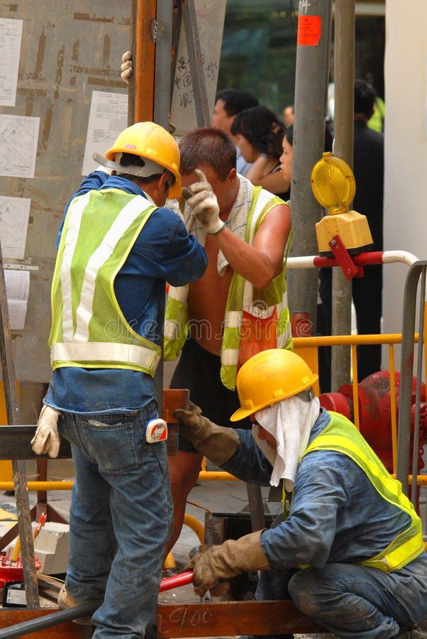 Workers at Street Level stock photo