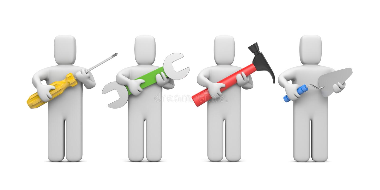Download Workers With Tools. Image Contain Clipping Path Stock Illustration - Image: 19490235