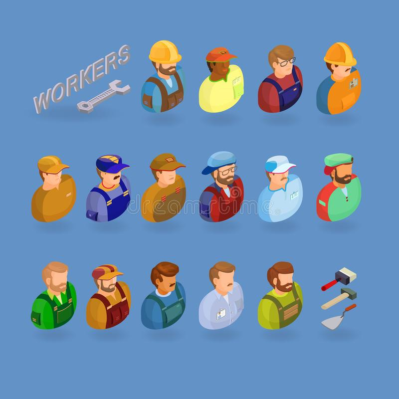 Workers and tools symbols isolated on blue. Isometric projection royalty free illustration