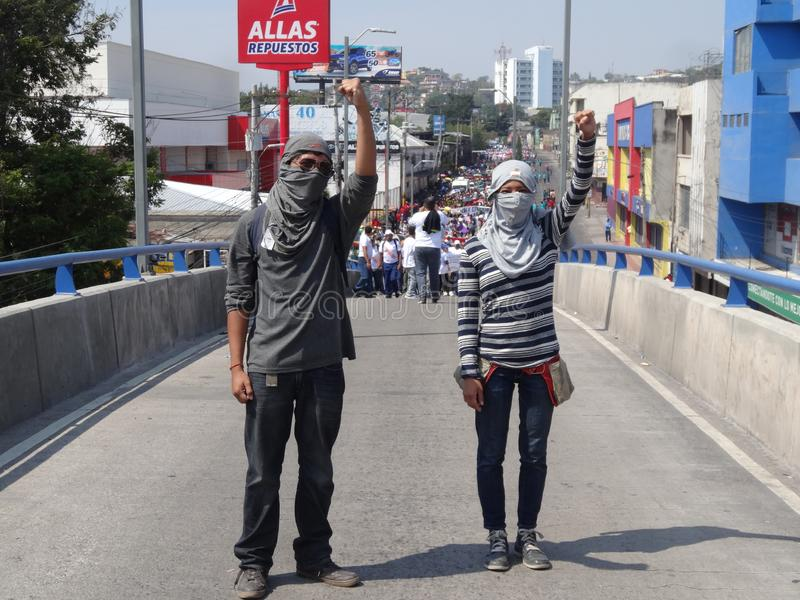 Labour day protest march Tegucigalpa Honduras May 2019 18. Workers and trade unionist march on the labour day celebration in protest of the corruption of the stock photography