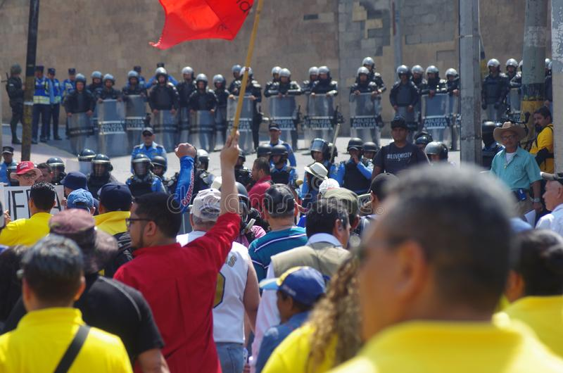 Labour day protest march Tegucigalpa Honduras May 2019 2. Workers and trade unionist march on the labour day celebration in protest of the corruption of the stock images
