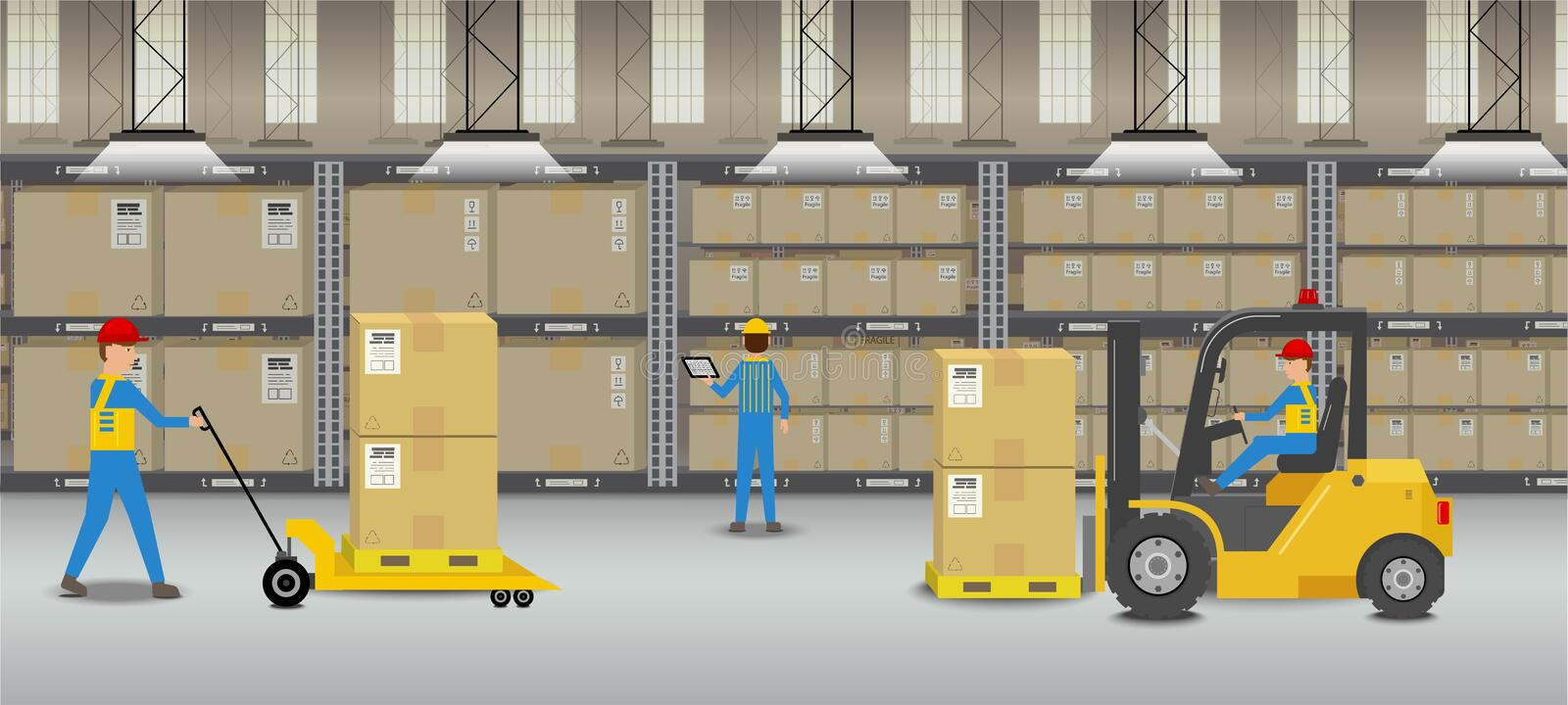 Workers in warehouse. Warehouse interior with workers working flat design vector illustration