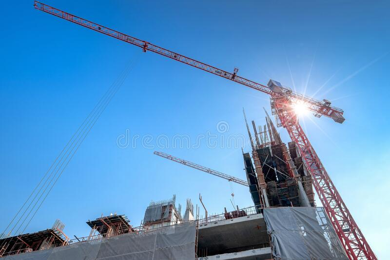 Construction site are building with giant crane royalty free stock photography