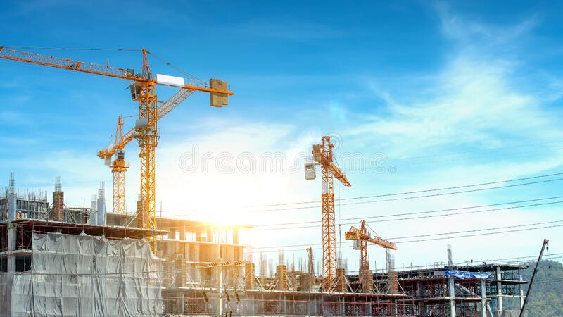 Construction site are building with giant crane stock photography
