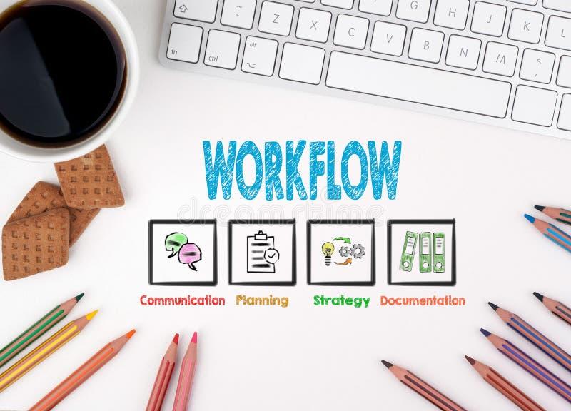 Workflow affärsidé bläddra white för rengöringsduk för affärsmanskrivbordkontor royaltyfria bilder