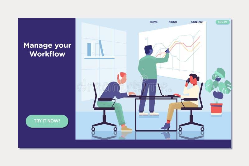 Workflow, arbetsplats och miljö Folket arbetar i ett lag och påverkar varandra med grafer royaltyfri illustrationer