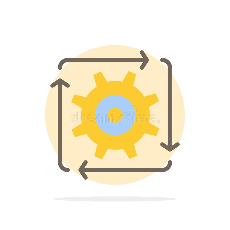 Workflow, Automation, Development, Flow, Operation Abstract Circle Background Flat color Icon royalty free illustration