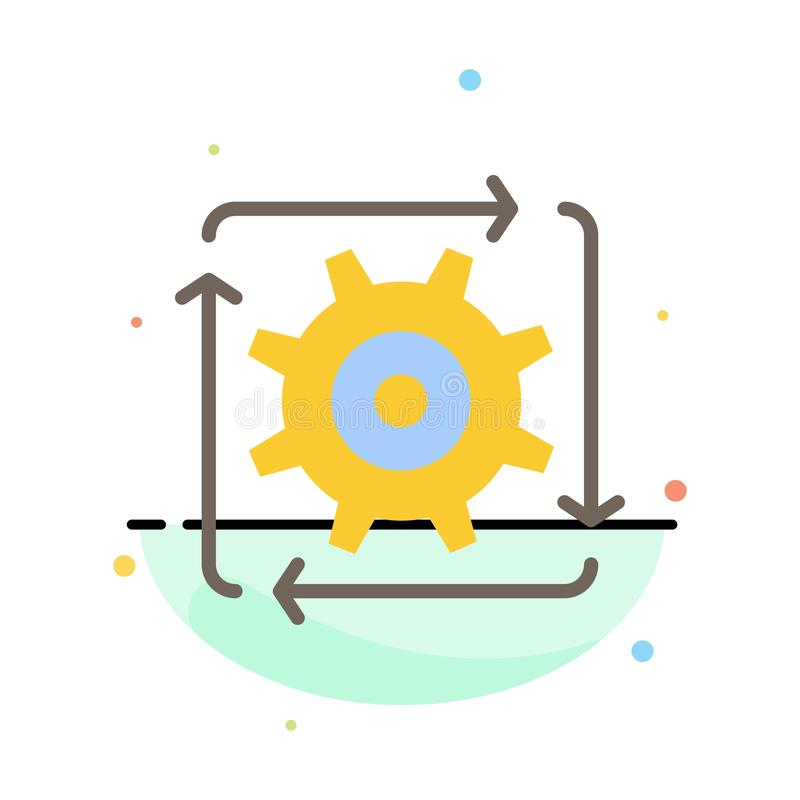 Workflow, Automation, Development, Flow, Operation Abstract Flat Color Icon Template royalty free illustration