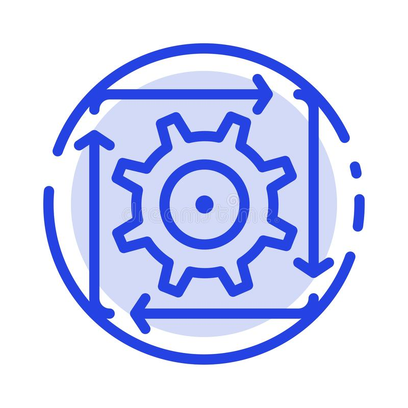 Workflow, Automation, Development, Flow, Operation Blue Dotted Line Line Icon vector illustration