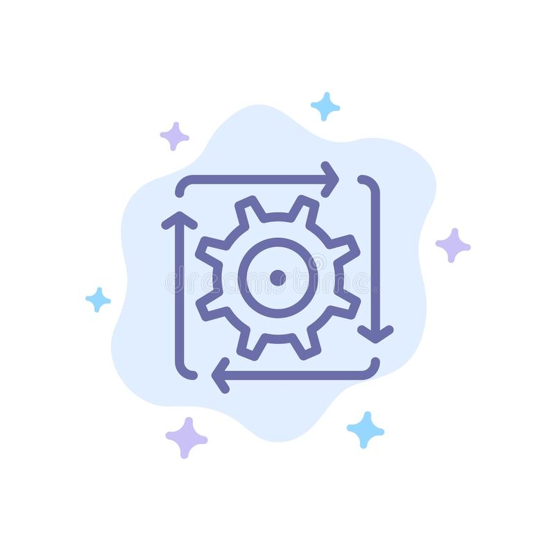 Workflow, Automation, Development, Flow, Operation Blue Icon on Abstract Cloud Background stock illustration
