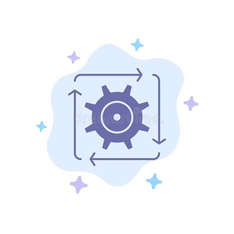 Workflow, Automation, Development, Flow, Operation Blue Icon on Abstract Cloud Background royalty free illustration