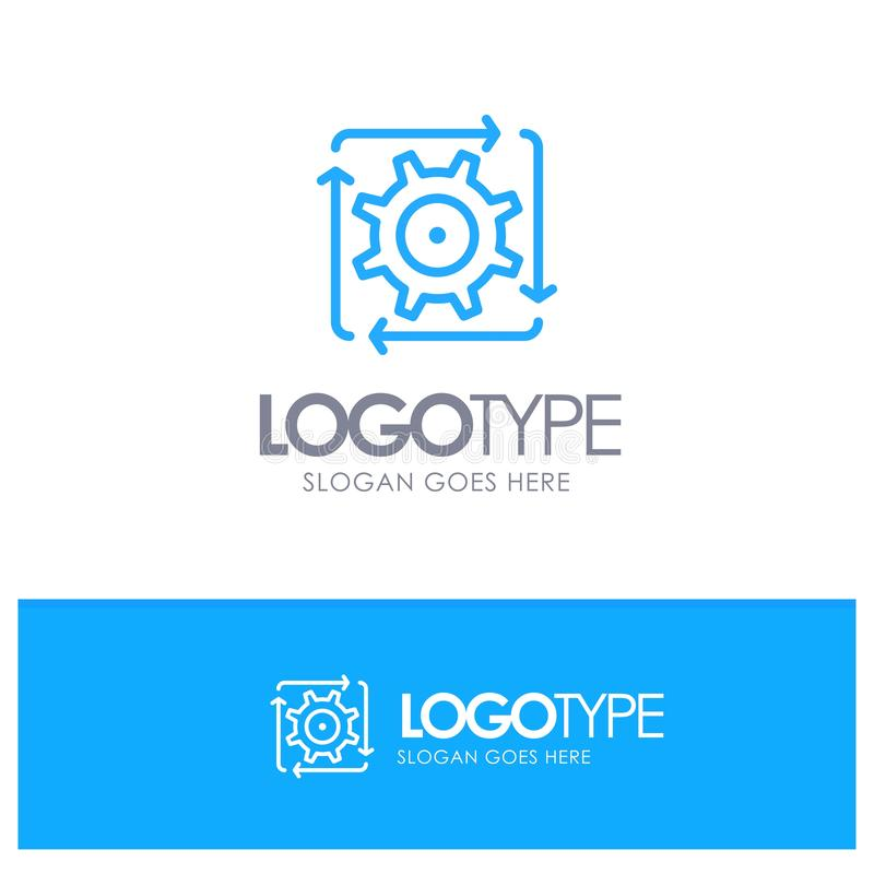 Workflow, Automation, Development, Flow, Operation Blue outLine Logo with place for tagline vector illustration
