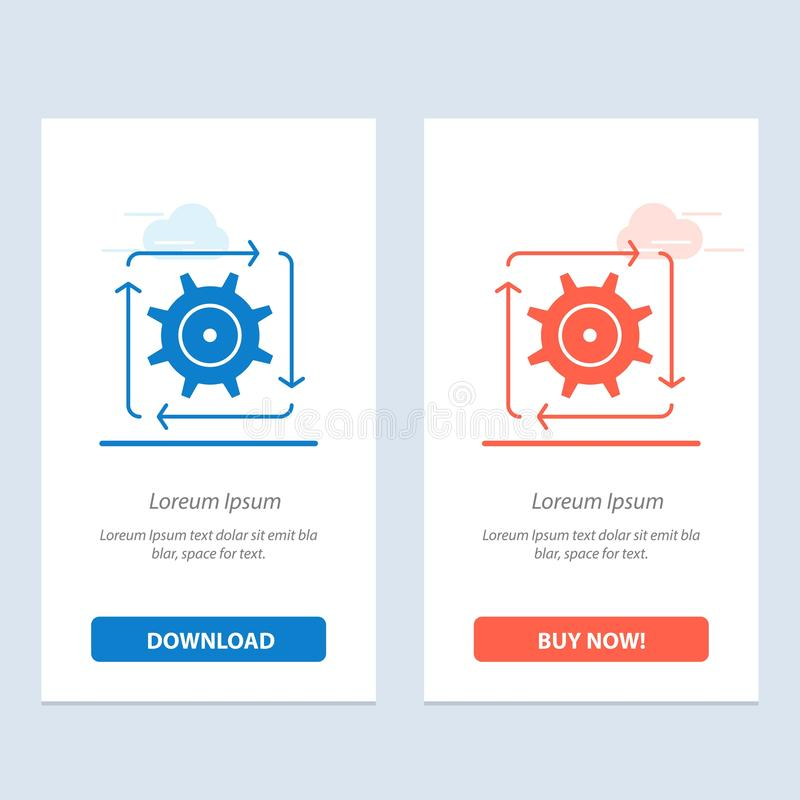 Workflow, Automation, Development, Flow, Operation  Blue and Red Download and Buy Now web Widget Card Template stock illustration
