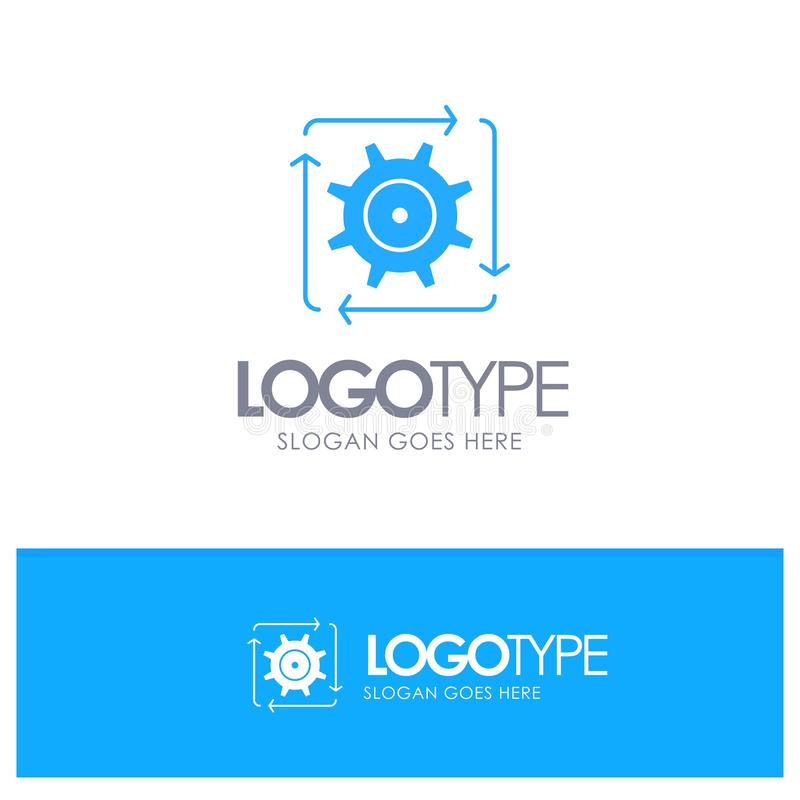 Workflow, Automation, Development, Flow, Operation Blue Solid Logo with place for tagline stock illustration