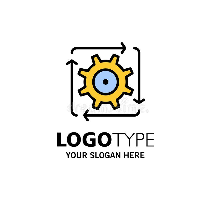 Workflow, Automation, Development, Flow, Operation Business Logo Template. Flat Color royalty free illustration