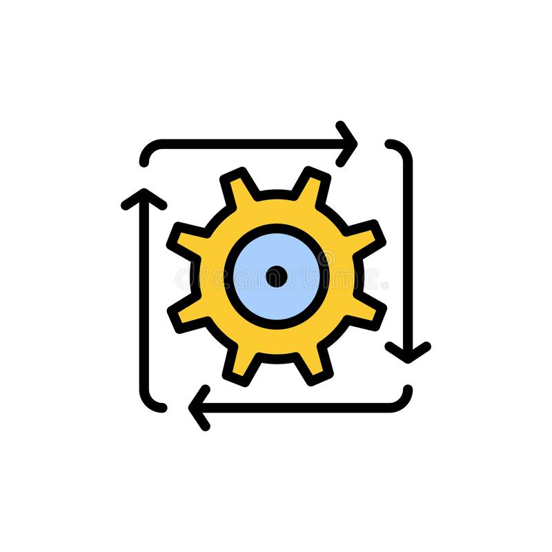 Workflow, Automation, Development, Flow, Operation  Flat Color Icon. Vector icon banner Template stock illustration