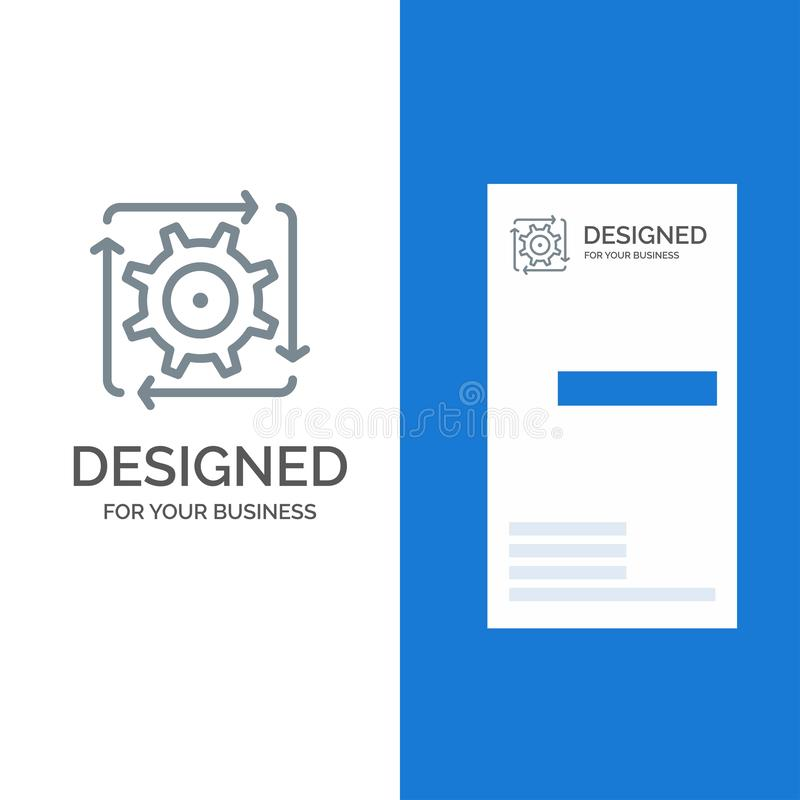 Workflow, Automation, Development, Flow, Operation Grey Logo Design and Business Card Template royalty free illustration