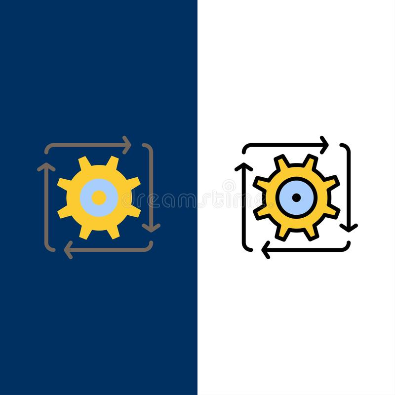 Workflow, Automation, Development, Flow, Operation  Icons. Flat and Line Filled Icon Set Vector Blue Background royalty free illustration
