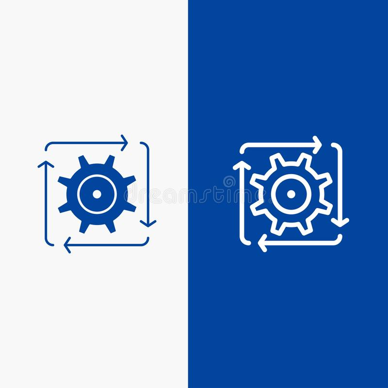 Workflow, Automation, Development, Flow, Operation Line and Glyph Solid icon Blue banner Line and Glyph Solid icon Blue banner stock illustration