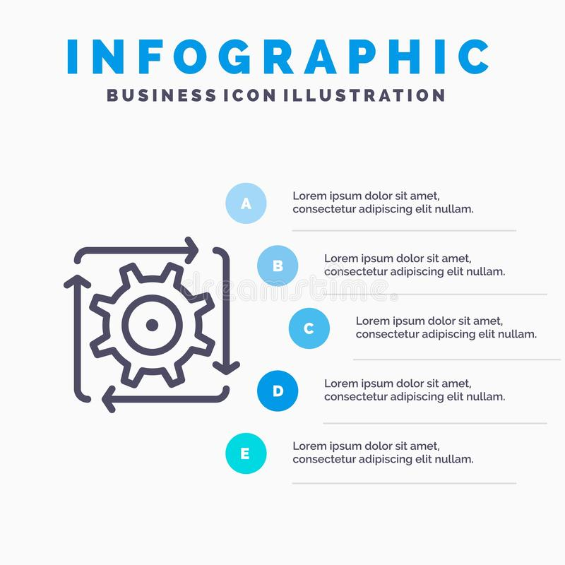 Workflow, Automation, Development, Flow, Operation Line icon with 5 steps presentation infographics Background stock illustration