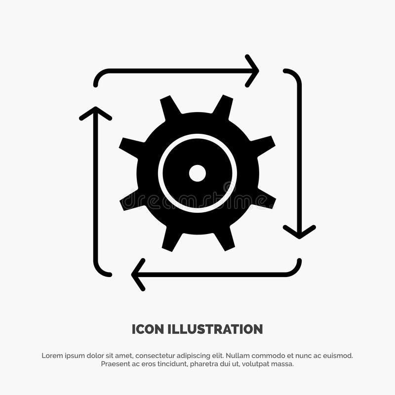 Workflow, Automation, Development, Flow, Operation solid Glyph Icon vector royalty free illustration