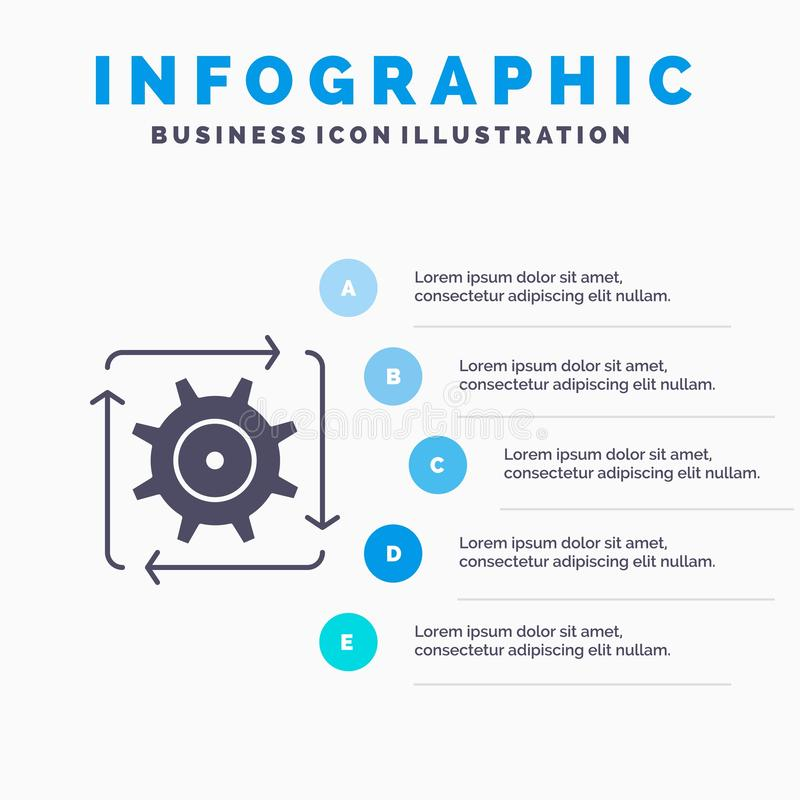 Workflow, Automation, Development, Flow, Operation Solid Icon Infographics 5 Steps Presentation Background vector illustration
