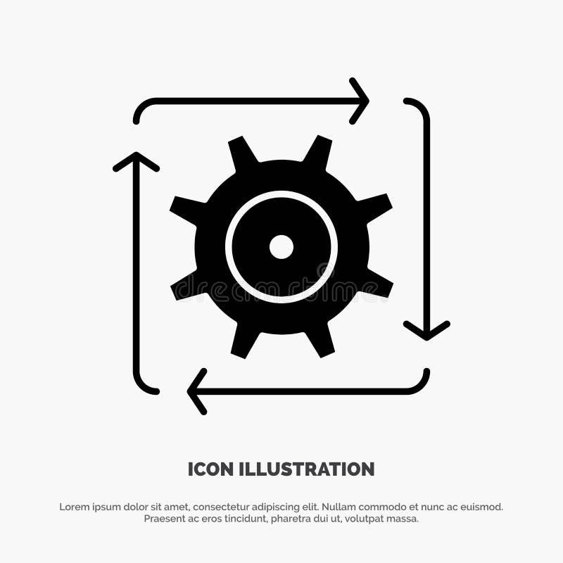Workflow automation, utveckling, flöde, för skårasymbol för operation fast vektor royaltyfri illustrationer