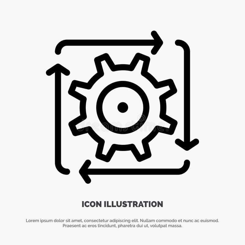 Workflow automation, utveckling, flöde, operationlinje symbolsvektor royaltyfri illustrationer