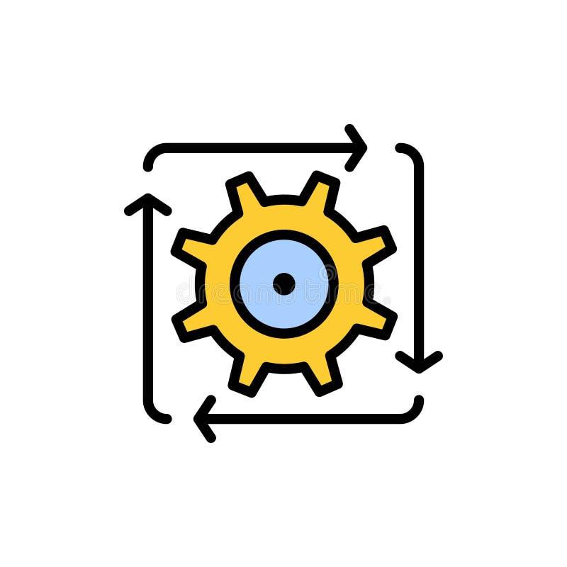 Workflow automation, utveckling, flöde, plan färgsymbol för operation Mall för vektorsymbolsbaner stock illustrationer