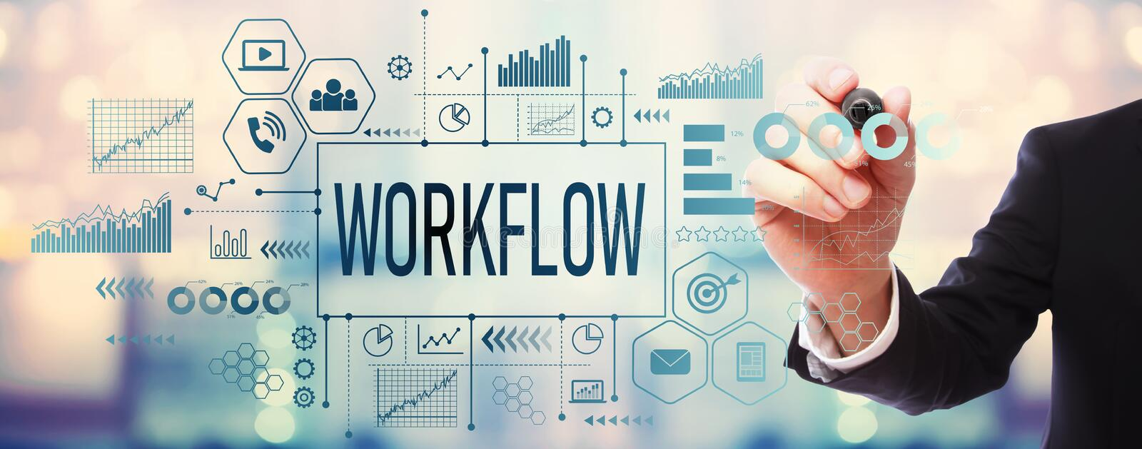 Workflow with businessman royalty free stock photos