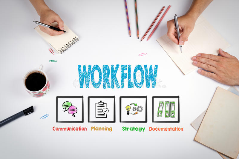 Workflow Concept. The meeting at the white office table royalty free stock photos