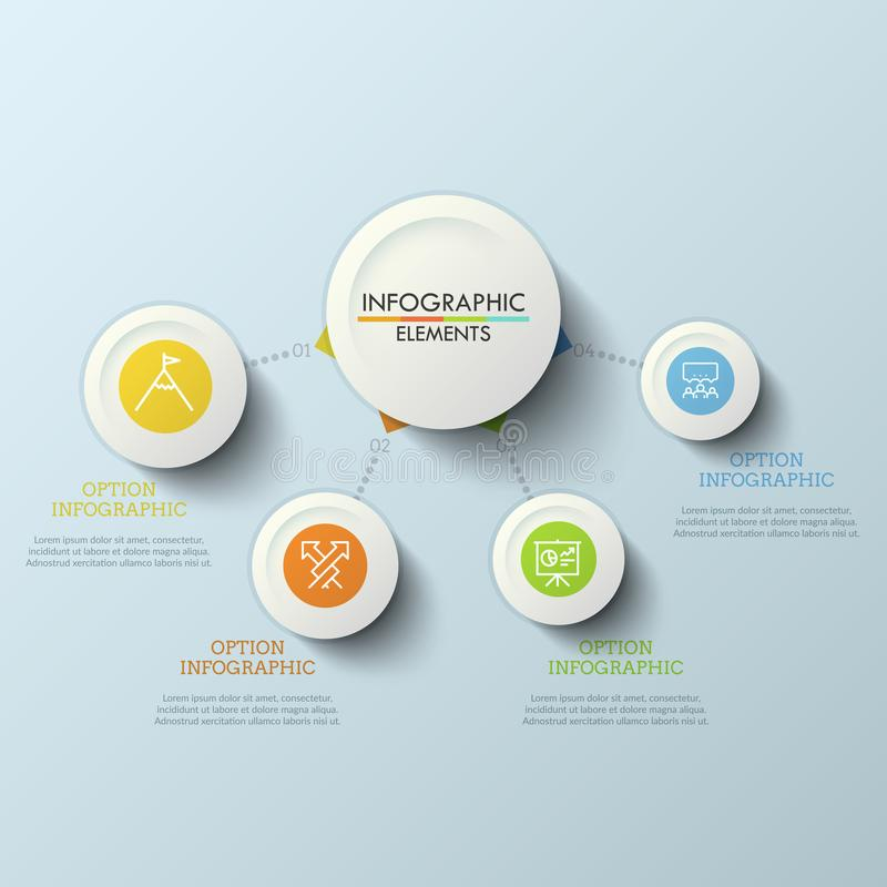 Workflow diagram, main circle connected with 4 round elements by dotted lines. Four steps to success concept. Creative. Infographic design template. Vector royalty free illustration