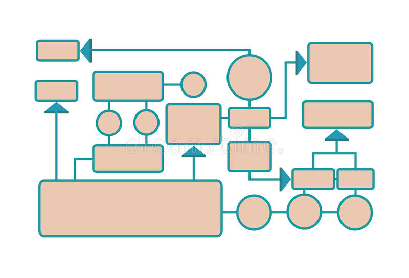 Workflow diagram, working algorithm or structure of organization. Vector illustration, isolated on white. Workflow diagram, working algorithm or structure of royalty free illustration
