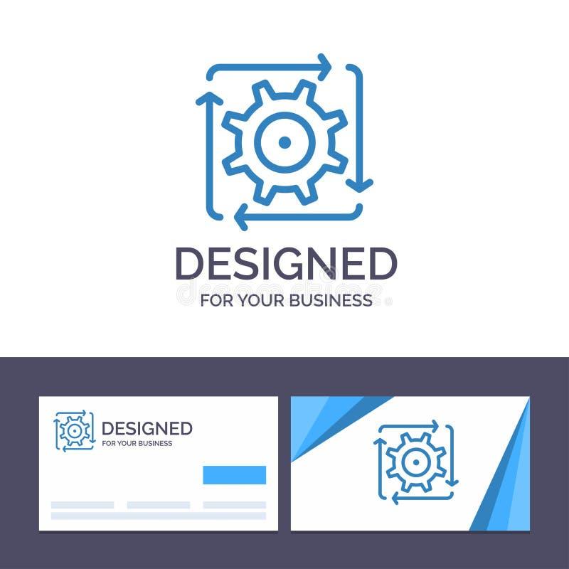 Workflow för idérik mall för affärskort och logo, automation, utveckling, flöde, operationvektorillustration vektor illustrationer