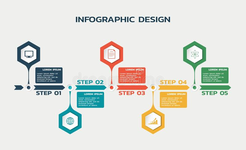 Workflow five steps infographic template with hexagons and text. business flowchart stock illustration