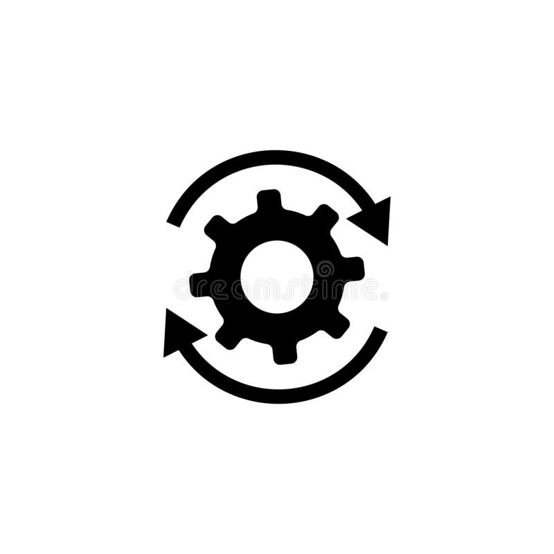 Workflow gears with arrows icon stock illustration