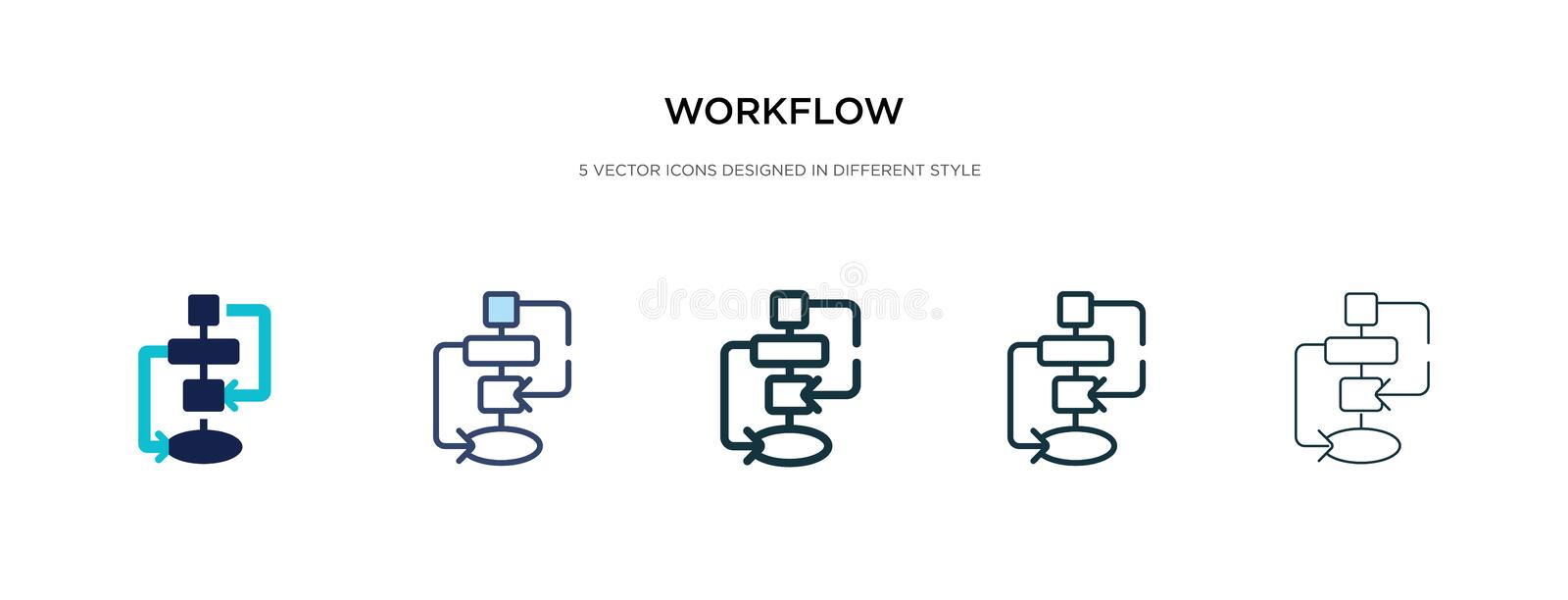 Workflow icon in different style vector illustration. two colored and black workflow vector icons designed in filled, outline,. Line and stroke style can be stock illustration
