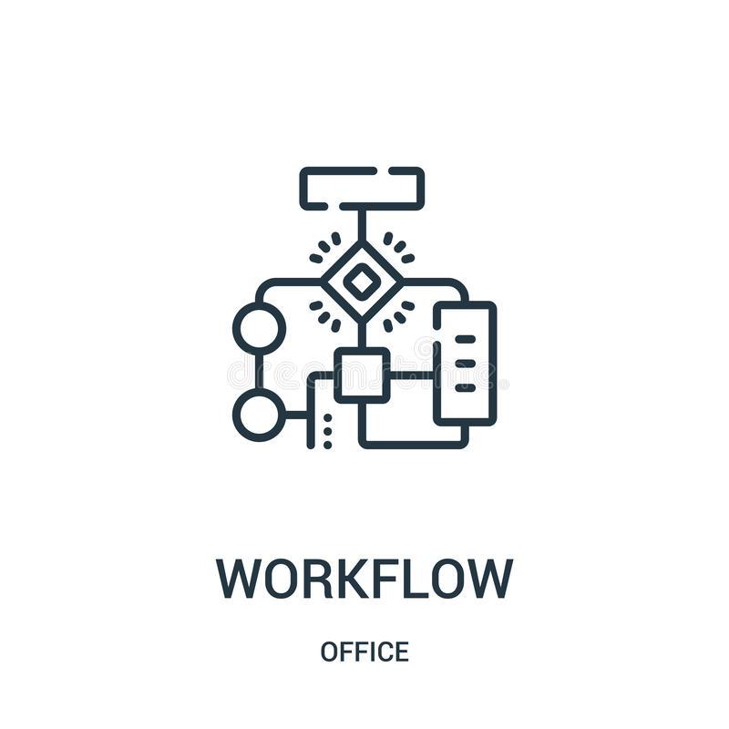 workflow icon vector from office collection. Thin line workflow outline icon vector illustration vector illustration