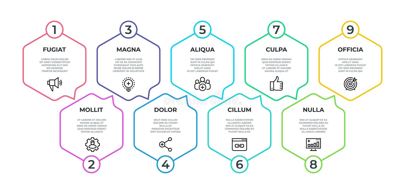 Workflow infographic. 9 step flow graphic, timeline minimalist hexagon banner, business presentation graph. Vector 9. Options display milestone vector illustration