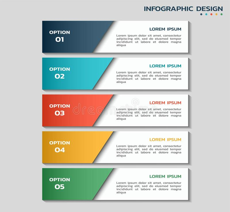 Workflow infographic template with five options. color flowchart infographic design with text boxes stock illustration