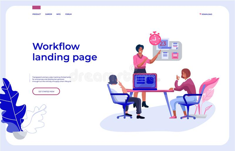 Workflow landing page. Office people team interacting with business dashboard and communicating. Vector work vector illustration