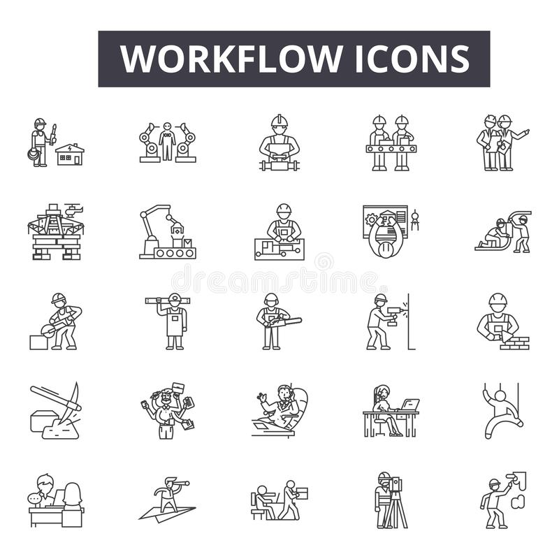 Workflow line icons, signs, vector set, linear concept, outline illustration royalty free illustration