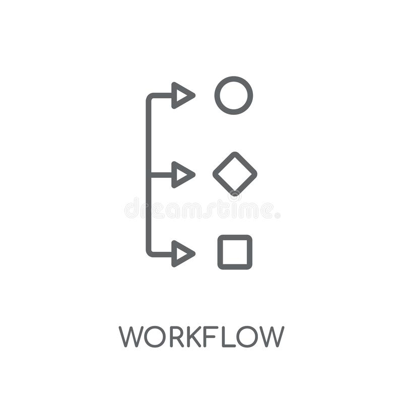 Workflow linear icon. Modern outline Workflow logo concept on wh royalty free illustration
