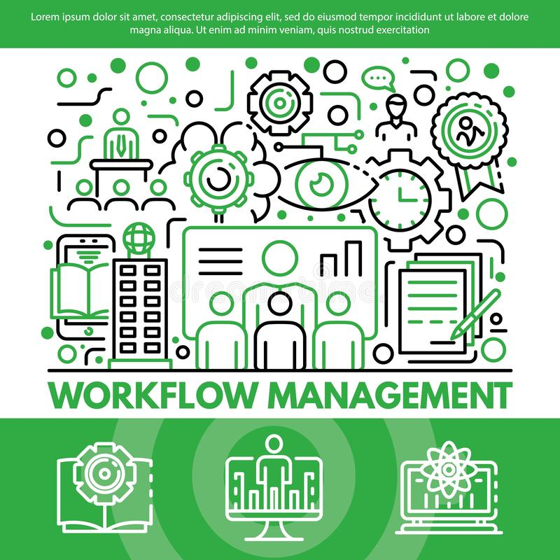 Workflow management concept background, outline style royalty free illustration