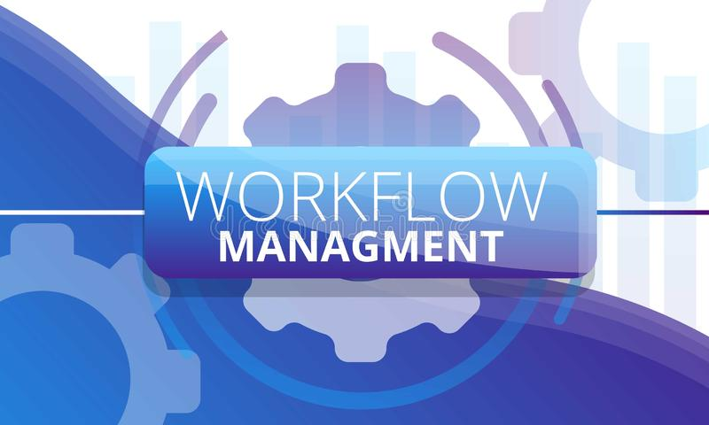 Workflow management concept banner, cartoon style. Workflow management concept banner. Cartoon illustration of workflow management vector concept banner for web vector illustration