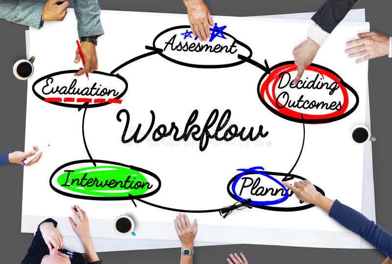 Workflow Process Action Plan Diagram Concept. People Discuss Workflow Process Action Plan Diagram stock photo