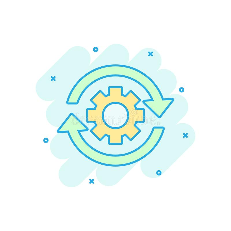 Workflow process icon in comic style. Gear cog wheel with arrows vector cartoon illustration pictogram. Workflow business concept royalty free illustration