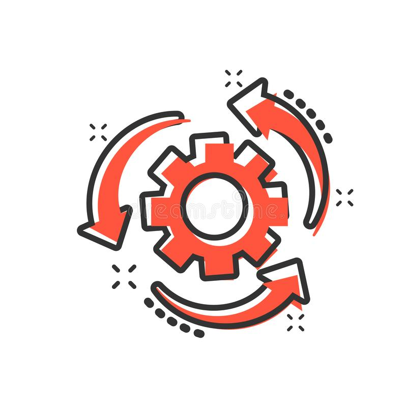 Workflow process icon in comic style. Gear cog wheel with arrows vector cartoon illustration pictogram. Workflow business concept vector illustration